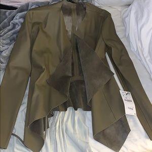 Brand new green leather blazer